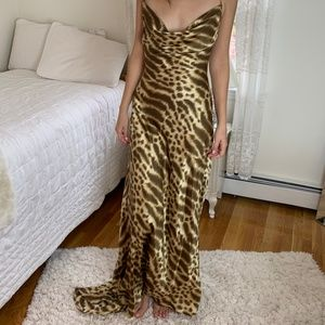 Vintage Animal Print Silk Backless Evening Gown